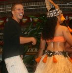 my brother on stage with female dancers, Samoa