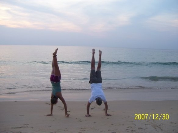 my dad and I in a hand stand contest 10 years later