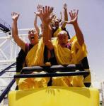 monks getting air on roller coaster
