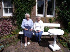 Moira & Lady Jean Fforde with pewter mugs
